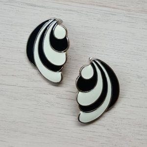 Blank & white enamel earrings